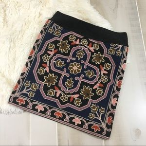 Zara Embroidered Knit Mini Skirt